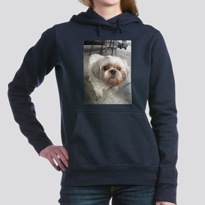 small dog at cafe Women's Hooded Sweatshirt