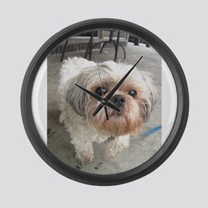 small dog at cafe Large Wall Clock