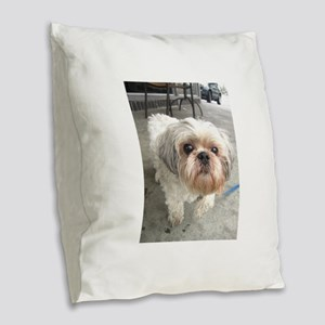 small dog at cafe Burlap Throw Pillow