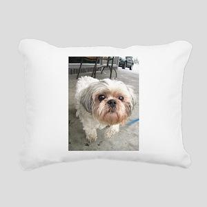 small dog at cafe Rectangular Canvas Pillow