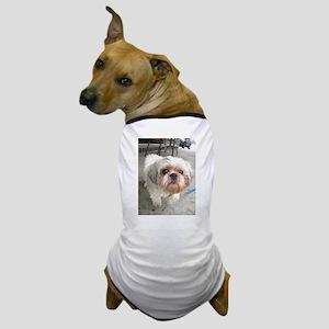 small dog at cafe Dog T-Shirt