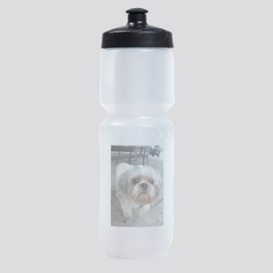 small dog at cafe Sports Bottle