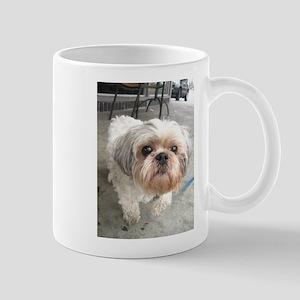 small dog at cafe Mugs