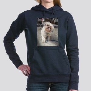 dog on leash at cafe Women's Hooded Sweatshirt