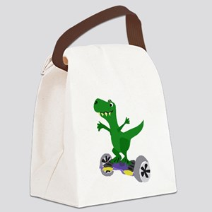 Funny T-Rex Dinosaur on Motorized Canvas Lunch Bag