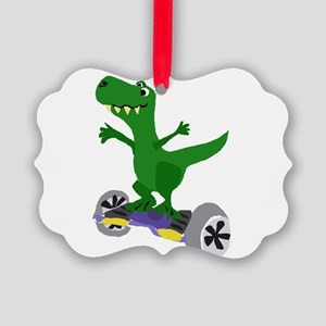 Funny T-Rex Dinosaur on Motorized Picture Ornament