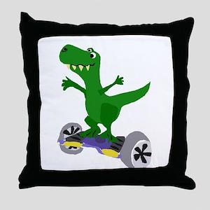 Funny T-Rex Dinosaur on Motorized Ska Throw Pillow