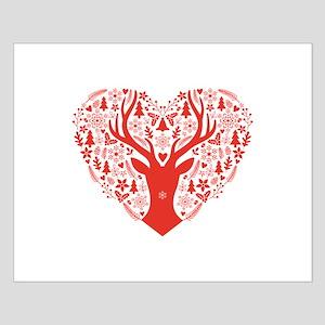 Christmas deer red heart Posters