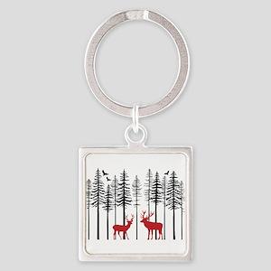 Reindeer in fir tree forest Keychains