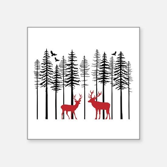 Reindeer in fir tree forest Sticker