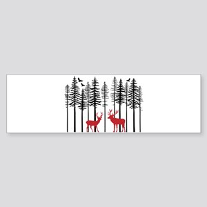 Reindeer in fir tree forest Bumper Sticker