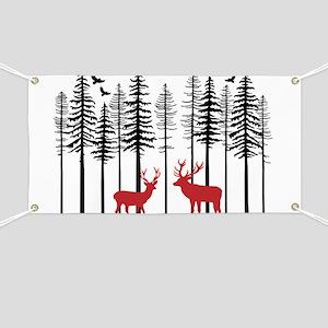 Reindeer in fir tree forest Banner