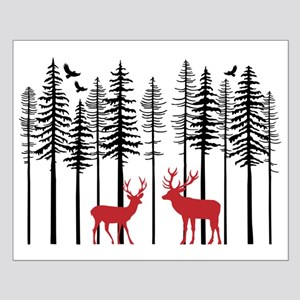 Reindeer in fir tree forest Posters