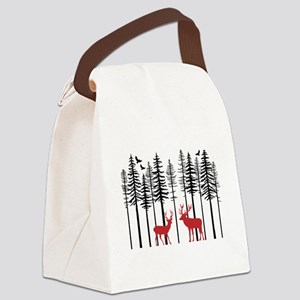Reindeer in fir tree forest Canvas Lunch Bag