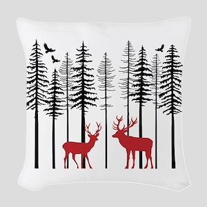 Reindeer in fir tree forest Woven Throw Pillow