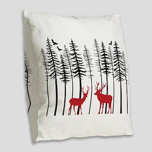 Reindeer in fir tree forest Burlap Throw Pillow