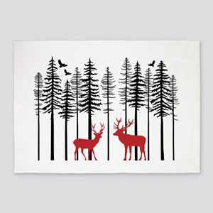 Reindeer in fir tree forest 5'x7'Area Rug
