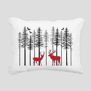 Reindeer in fir tree forest Rectangular Canvas Pil