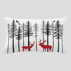 Reindeer in fir tree forest Pillow Case