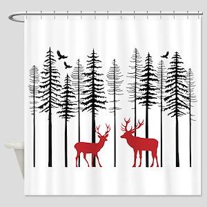 Reindeer in fir tree forest Shower Curtain