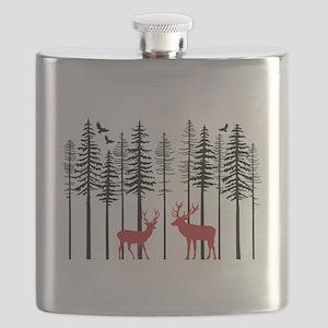 Reindeer in fir tree forest Flask