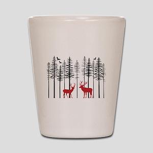 Reindeer in fir tree forest Shot Glass