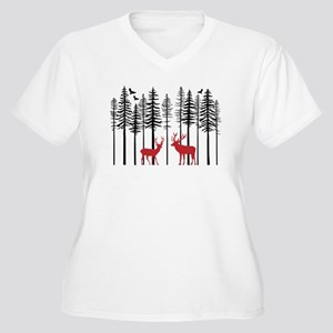 Reindeer in fir tree forest Plus Size T-Shirt