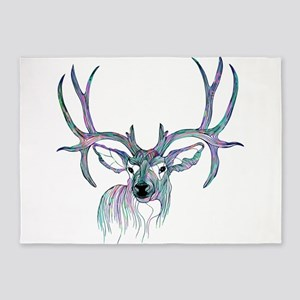 Colorful Deer head Illustration 5'x7'Area Rug