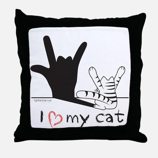 I Love My Cat Throw Pillow