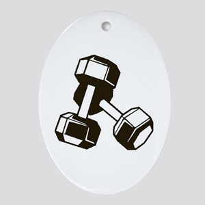 Fitness Dumbbells Oval Ornament