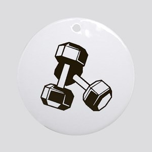 Fitness Dumbbells Round Ornament