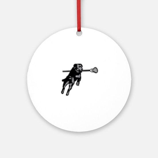 Lax Dog Round Ornament