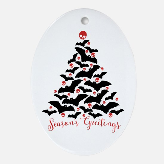 Bats And Skulls Holiday Tree Oval Ornament