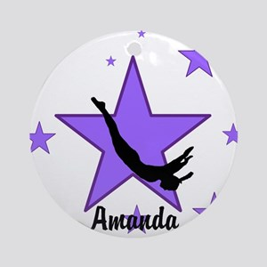 Purple Trampoline Star Round Ornament