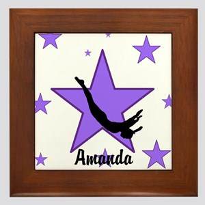 Purple Trampoline Star Framed Tile