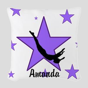 Purple Trampoline Star Woven Throw Pillow