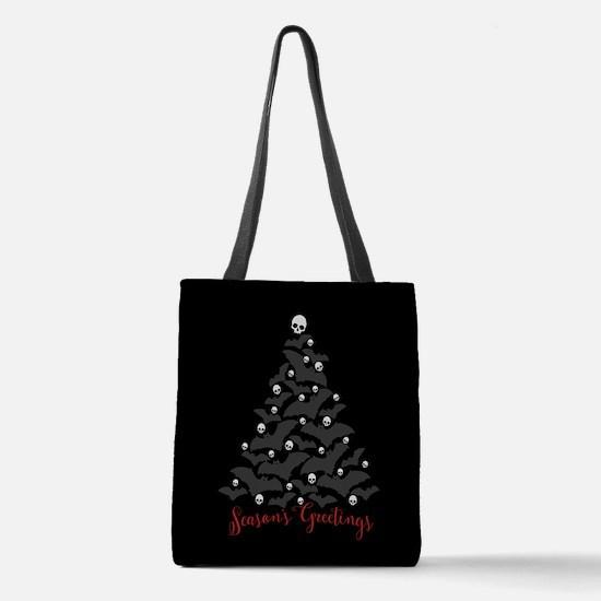 Bats And Skulls Holiday Tree Polyester Tote Bag