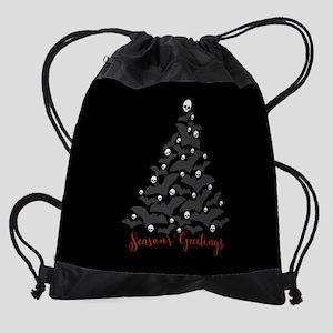 Bats And Skulls Holiday Tree Drawstring Bag