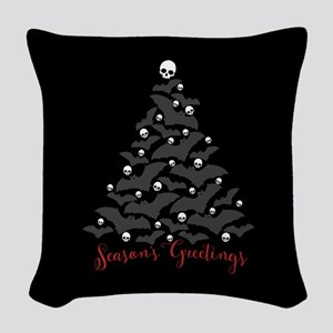 Bats And Skulls Holiday Tree Woven Throw Pillow
