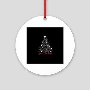 Bats And Skulls Holiday Tree Round Ornament