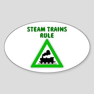 Steam Trains Rule Oval Sticker