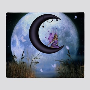 Beautiful fairy sitting on the moon in the night T