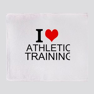 I Love Athletic Training Throw Blanket