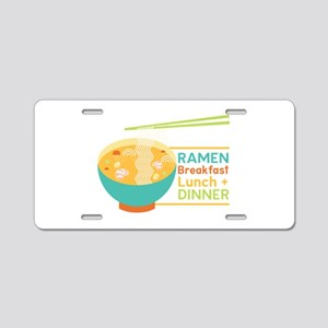 Breakfast Lunch & Dinner Aluminum License Plate