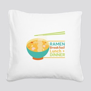 Breakfast Lunch & Dinner Square Canvas Pillow