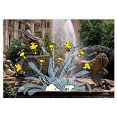 Snoopy And Woodstock - Fountain Time Wall Art Poster