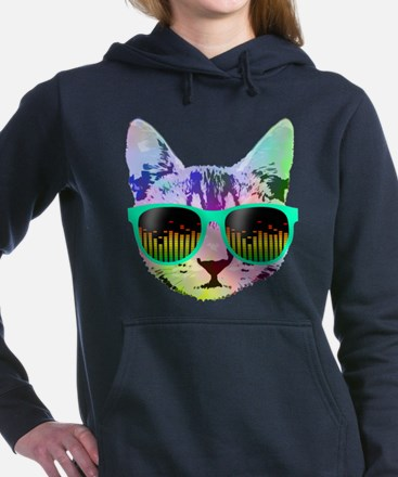 Rainbow Music Cat Women's Hooded Sweatshirt