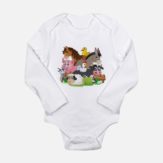 Cute Donkeys Long Sleeve Infant Bodysuit