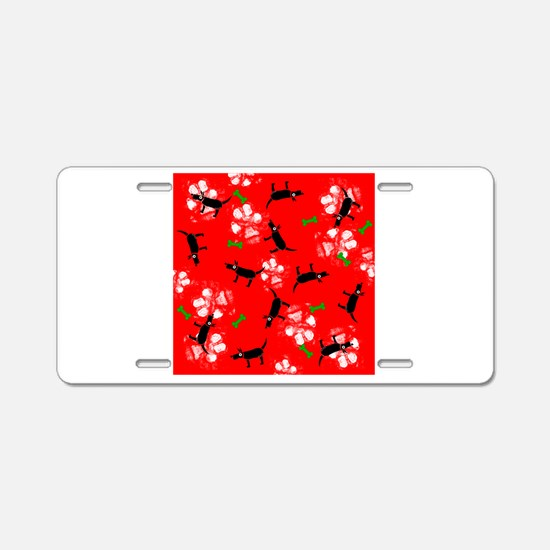 Dogs on Paws Green and Red! Aluminum License Plate