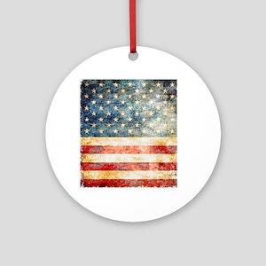 Stars over Stripes Vintage Round Ornament
